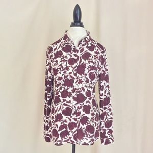 LOFT Button Down Shirt with Burgundy Flowers